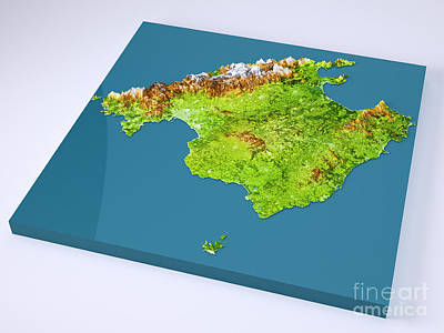 Geography Digital Art - Mallorca Island 3d Model Topographic Map On Blue by Frank Ramspott
