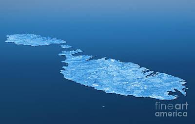 Malta Topographic Map 3d Landscape View Blue Color Print by Frank Ramspott