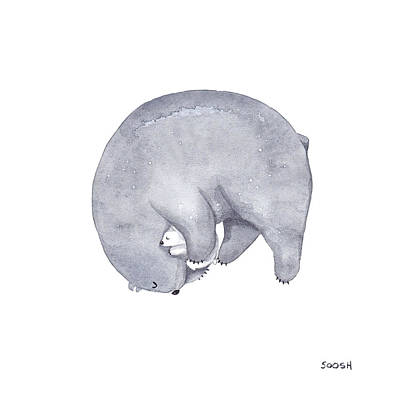 Animal Christmas Painting - Mama Bear by Soosh