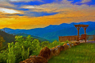 Blue Ridge Sunset From Mama Gertie's Hideaway Print by Ginger Wakem