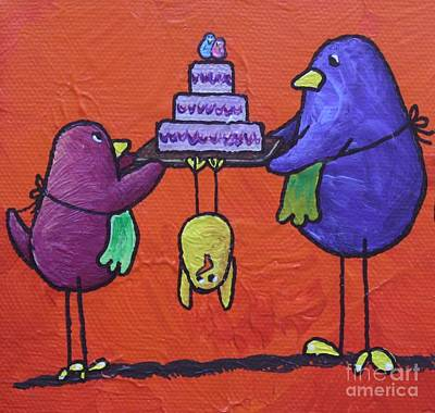 Limbbirds Painting - Mama's Helpers by LimbBirds Whimsical Birds