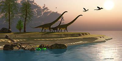 Microraptor Painting - Mamenchisaurus Dinosaur Morning by Corey Ford