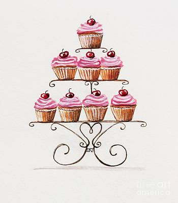 Coffee Painting - Mamie's Cupcakes by Elizabeth Robinette Tyndall