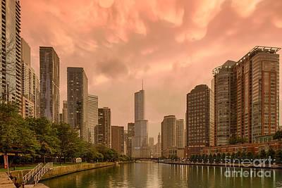 Mammatus Cloud Action Over Chicago River - Chicago Illinois Print by Silvio Ligutti