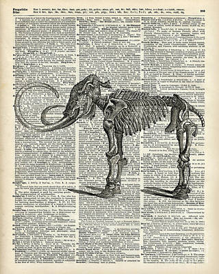Mammoth Elephant Bones Over A Antique Dictionary Book Page Print by Jacob Kuch