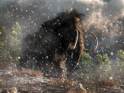 Ice Age Digital Art - Mammoth In A Blizzard by Daniel Eskridge