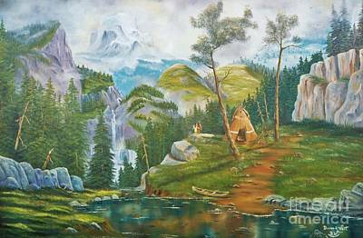 Canoe Waterfall Painting - Mammoth Mountain's Honeymoon Blessings by Duane West
