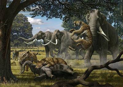 Mammoth Photograph - Mammoths And Sabre-tooth Cats, Artwork by Mauricio Anton