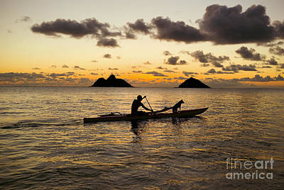 Hawaii Dog Photograph - Man And Dog In Canoe by Dana Edmunds - Printscapes