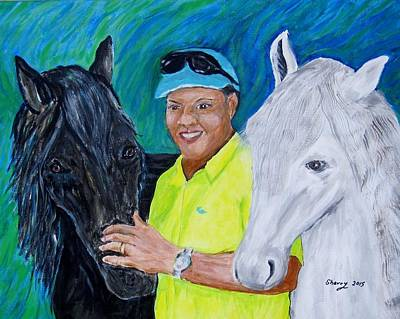 Man And His Horse Painting - Man And  His Prize Horses by Sherry Heller