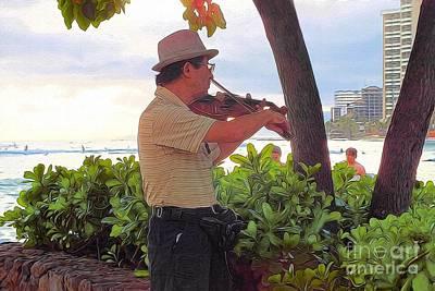 Waikiki Photograph - Man And His Violin by Scott Cameron