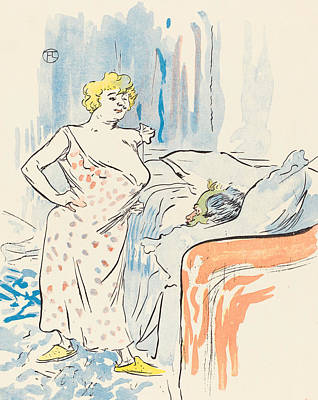 Bed Painting - Man And Woman by Henri de Toulouse-Lautrec