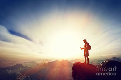 Smart Photograph - Man Connecting With His Smartphone On Top Of The Mountain by Michal Bednarek