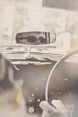 Man Driving Vintage Car Print by Jorgo Photography - Wall Art Gallery