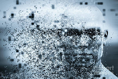 Think Photograph - Man Face With Pixel Dispersion Effect. Concept Of Technology, Modern Science But Also Disintegration by Michal Bednarek