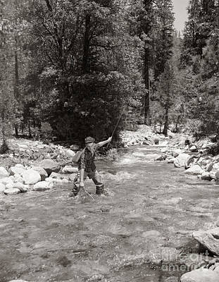 Man Fly Fishing Print by Pound/ClassicStock