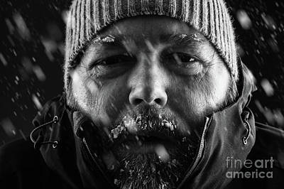 Man Freezing In Snow Storm Close Up Print by Simon Bratt Photography LRPS