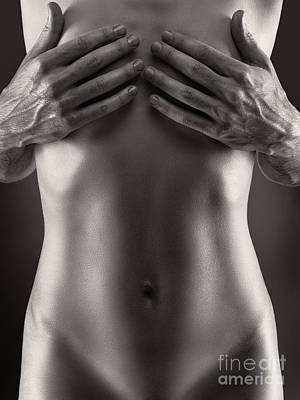 Nude Photograph - Man Hands Covering Nude Woman Breasts Black And White by Maxim Images
