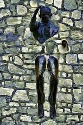 Detail Digital Art - Man In Wall - Da by Leonardo Digenio