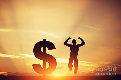 Economy Photograph - Man Jumping For Joy Next To Dollar Symbol by Michal Bednarek