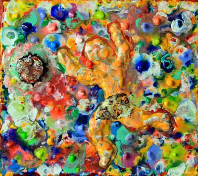 Encaustic Painting - Man  Kicking  An  Encaustic  Ball by Carl Deaville