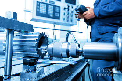 Gear Photograph - Man Operating Cnc Drilling And Boring Machine by Michal Bednarek