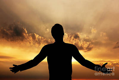 Hope Photograph - Man Praying Meditating In Harmony And Peace At Sunset by Michal Bednarek