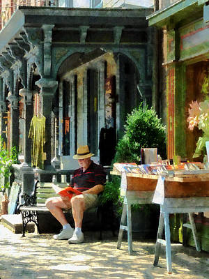 Businesses Photograph - Man Reading By Book Stall by Susan Savad