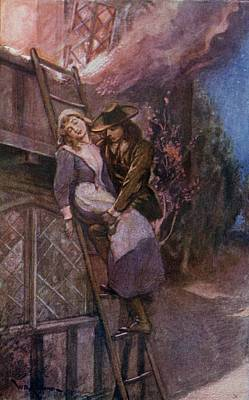 Man Rescuing Woman From Fire In The Print by Vintage Design Pics