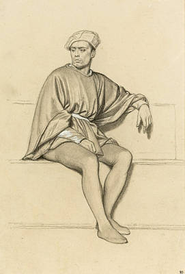 Drawing - Man Seated On A Bench Facing Left by Paul Delaroche