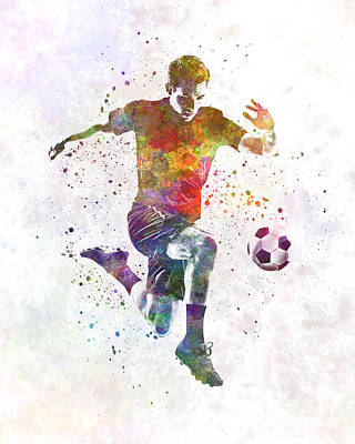 Man Soccer Football Player 09 Print by Pablo Romero