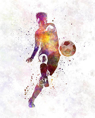 Man Soccer Football Player 10 Print by Pablo Romero