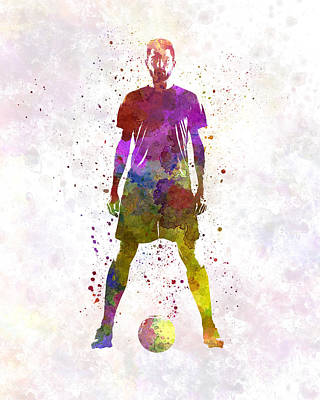 Man Soccer Football Player 11 Print by Pablo Romero
