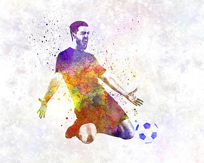Man Soccer Football Player 13 Print by Pablo Romero
