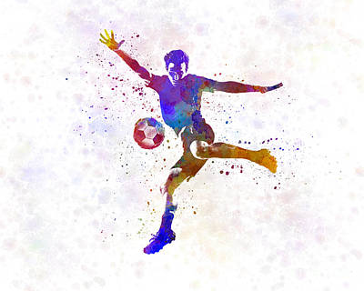 Man Soccer Football Player 14 Print by Pablo Romero