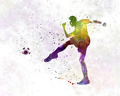 Man Soccer Football Player 15 Print by Pablo Romero