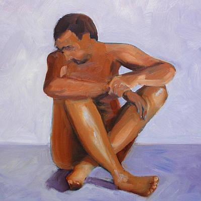 Human Head Painting - Man Study by Nancy Merkle