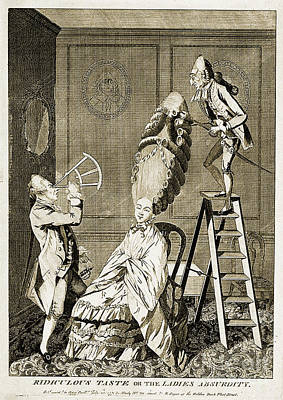 Man Using Sextant On Womans Coiffure Print by Wellcome Images