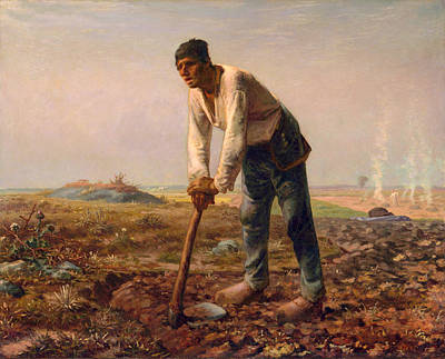 Jean Francois Millet Painting - Man With A Hoe by Jean Francois Millet
