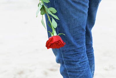 Affection Photograph - Man With A Rose Behind His Back Waiting For Love. Romantic Date On The Beach by Michal Bednarek