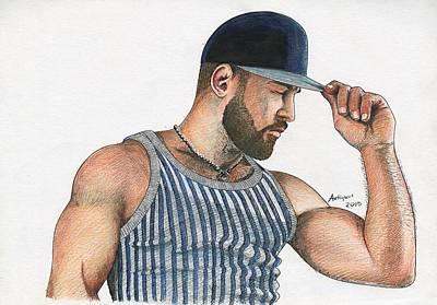 Man With Baseball Cap Original by Anti Quos