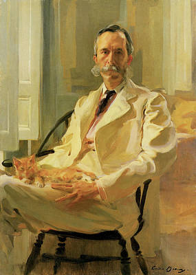 Man With Cat Henry Sturgis Drinker Print by Cecilia Beaux
