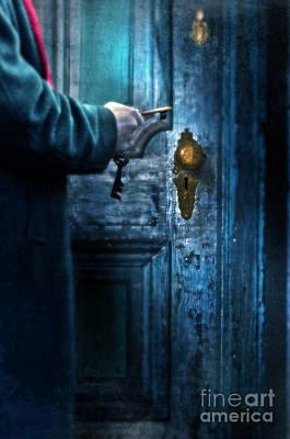 Man With Keys At Door Print by Jill Battaglia