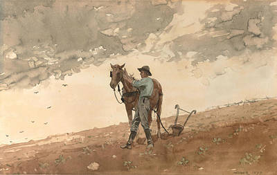 Man.farmer Painting - Man With Plow Horse by Winslow Homer