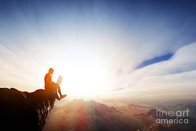 Copy Photograph - Man Working On Notebook On Top Of The Mountains by Michal Bednarek