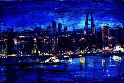 Middle East Painting - Manama Skyline 2 by Amani Al Hajeri