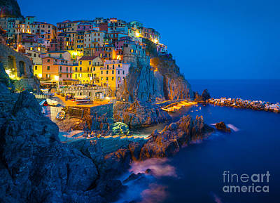Manarola By Night Print by Inge Johnsson