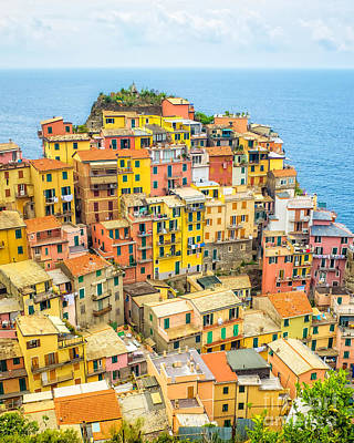 Manarola Cinque Terra City Print by Edward Fielding