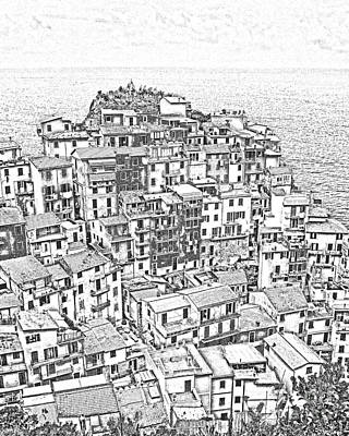 Sunset Drawing - Manarola Cinque Terra Italy by Edward Fielding