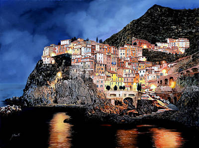 Liguria Painting - Manarola Di Notte by Guido Borelli